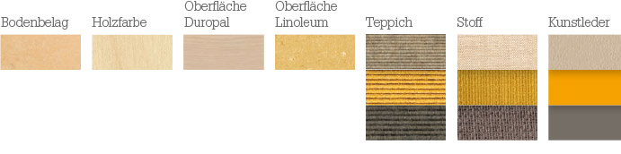 Materialien für die Farbstimmung: leicht, frisch, regenerativ