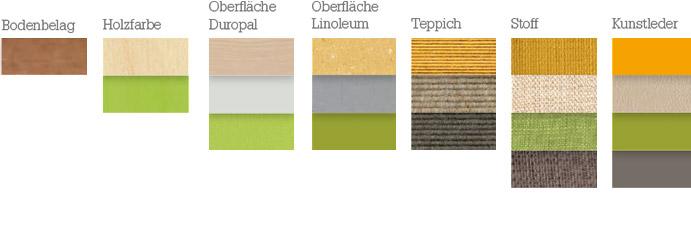 Materialien für die Farbstimmung: frisch, natürlich, leicht