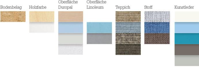 Materialien für die Farbstimmung: frisch, luftig, konzentrationsfördernd