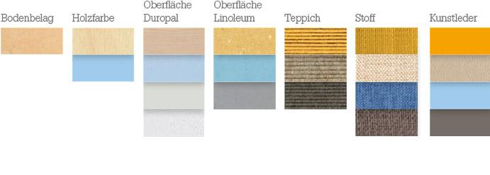 Materialien für die Farbstimmung: sanft, warm, sonnig