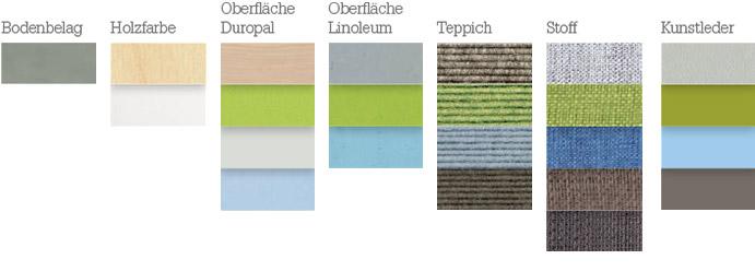Materialien für die Farbstimmung: frisch, luftig, regenerativ