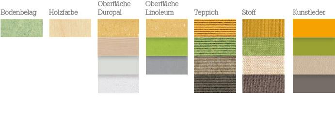 Materialien für die Farbstimmung: fröhlich, frisch, belebend
